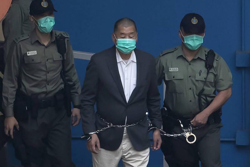 英國外交大臣拉布聲援呼籲港府停止針對黎智英(見圖)和其他民運人士,不料卻觸動中共神經,囂張反嗆「這是添亂的慣用伎倆」,表示香港回歸才擁有民主自由。(美聯社)