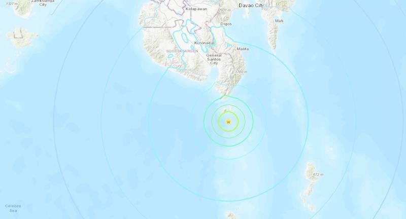 菲律賓民答那峨(Mindanao)今天早晨發生規模6.2強震,德國地球科學研究中心指地震震源深度僅10公里,目前尚未傳出是否造成災情。(圖擷自USGS)