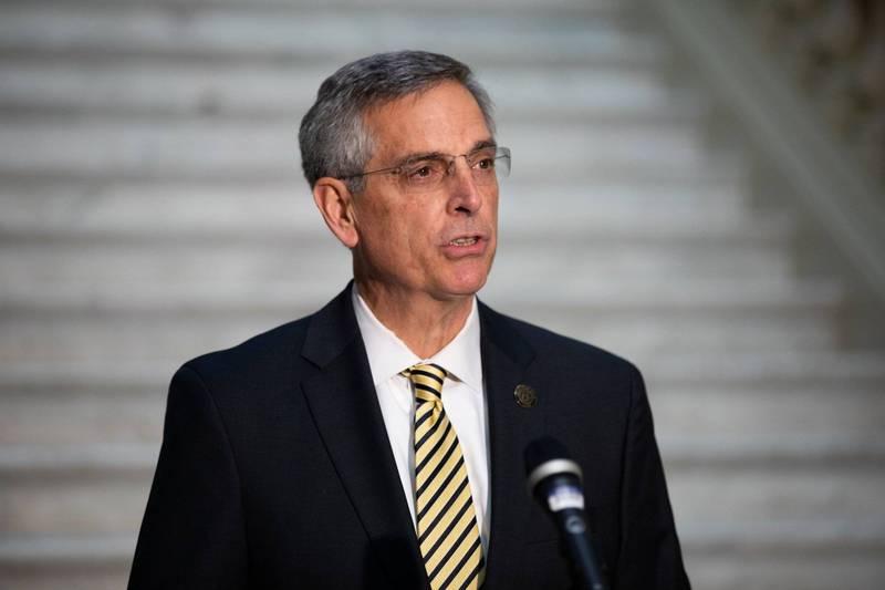 明年喬治亞州聯邦參議員補選,喬州將會新增7萬5858名合格選民,州務卿拉芬斯伯格(見圖)警告非喬州公民不得在喬州投票。(彭博)