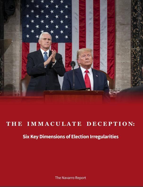 納瓦洛法發表「完美詐騙:選舉舞弊的6大關鍵層面」(The Immaculate Deception: Six Key Dimensions of Election Irregularities)的報告。(圖擷取自班農戰情室)
