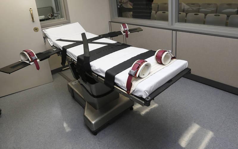 圖為注射死刑執行用床。(美聯社)