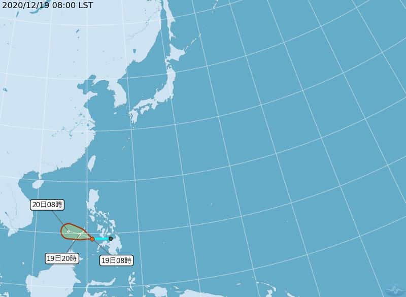 菲律賓南部熱帶低壓TD26持續增強,有成颱可能。(擷取自中央氣象局)