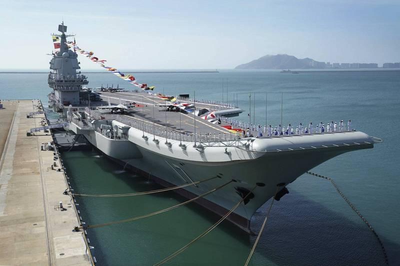 國防部今晚證實,中國解放軍航艦山東號(見圖)航經台灣海峽。(美聯社資料照)