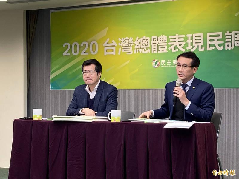 民進黨召開2020台灣總體表現民調記者會,由民進黨立委鄭運鵬、羅致政主持。(記者楊淳卉攝)