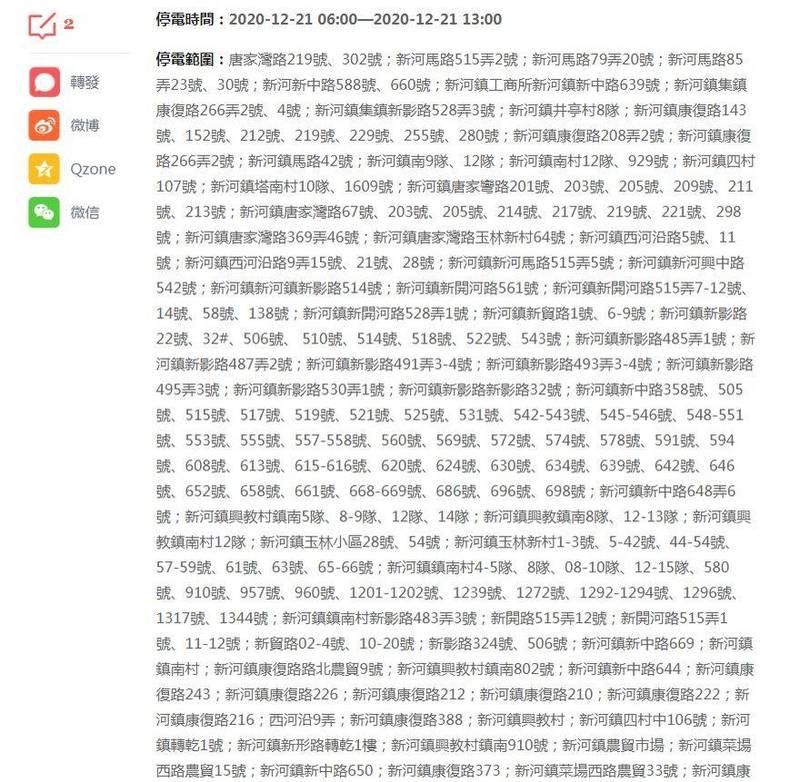 上海停電範圍曝光,讓中國網友傻眼了。(圖取自頭條新聞)