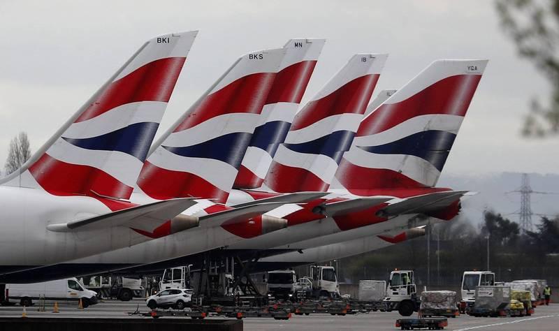 香港預計從22日開始實施英國客機禁令。英國航空客機示意圖。(美聯社)