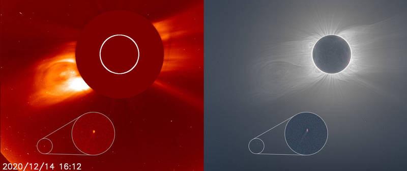 最终「C/2020 X3(SOHO)」在逼近太阳的过程中,受强烈太阳辐射作用而分解为尘埃颗粒,全程被记录在日食观测影像中。(撷取自NASA)(photo:LTN)