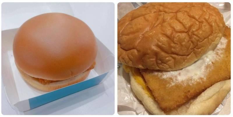 台湾与香港两地麦当劳贩售的麦香鱼汉堡卖相大不同,左为台湾麦当劳的麦香鱼,右为香港的麦香鱼。(图撷取自脸书_健吾)(photo:LTN)