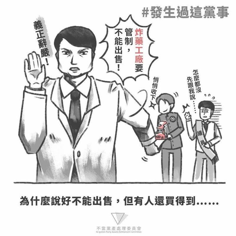黨產會指出,台灣省政府說好不能出售的炸藥工廠,中國國民黨還是買得到。(黨產會提供)