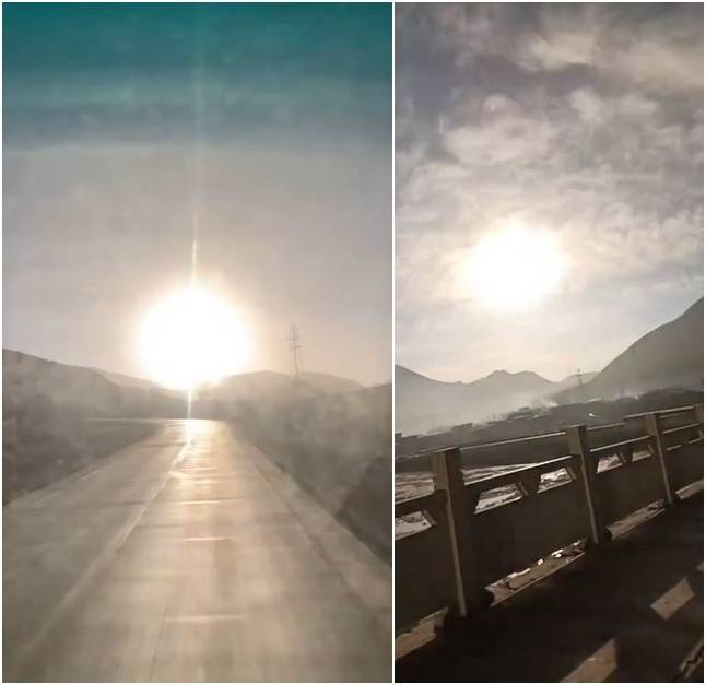 许多中国民众都目击大火球。(图取自微博)(photo:LTN)