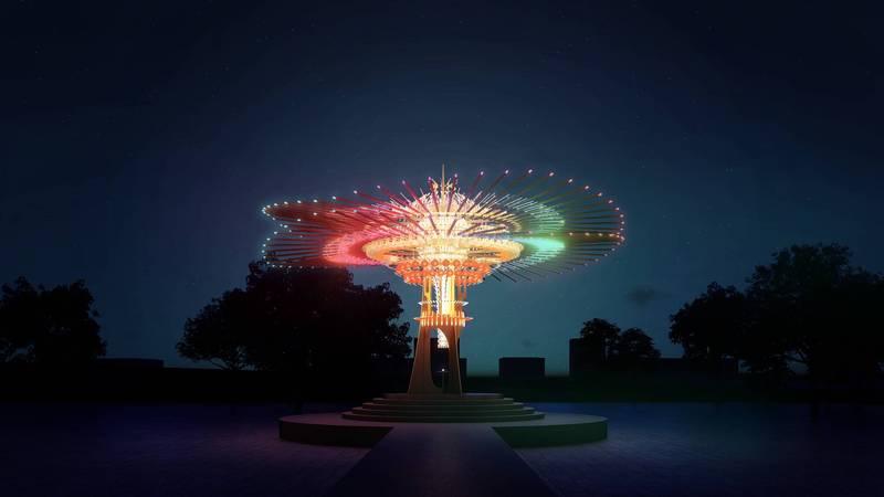 2021台灣燈會主燈「乘風逐光」,連結新竹在地產業與傳統竹藝,將108根竹子、風城特色、工藝科技等元素結合。(示意圖,觀光局提供)