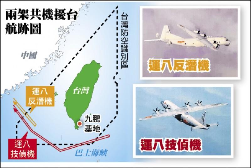 中共解放軍各一架「運八」反潛機、「運八」技術偵察機昨自台海中線以南進入我防空識別區,其中「運八」技偵機飛入西南空域後,竟轉往台灣東南空域後折返。小圖為同型機。(國防部提供)