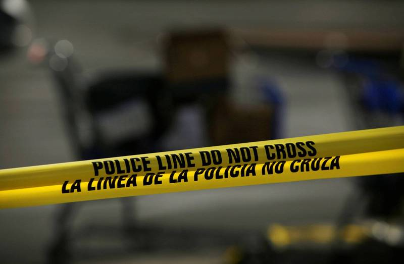 美国阿肯色州耶诞节当天发生灭门惨案,一家5口陈尸屋内。美警封锁线示意图。(路透)(photo:LTN)