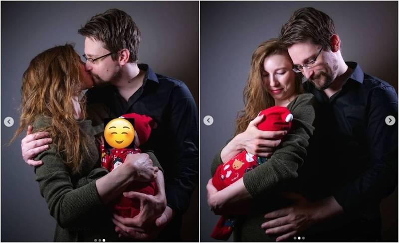 全球最知名的揭密者史诺登喜获麟儿,他的妻子米尔斯今天在IG分享一家三口的照片。(图撷自IG)(photo:LTN)