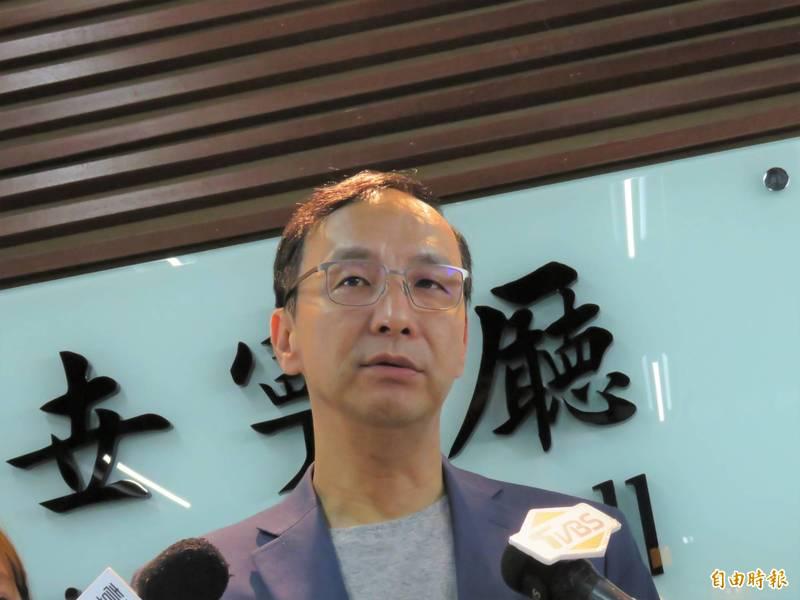 前新北市長朱立倫今天至輔大演講「台灣何時能超越韓流」。(記者陳心瑜攝)