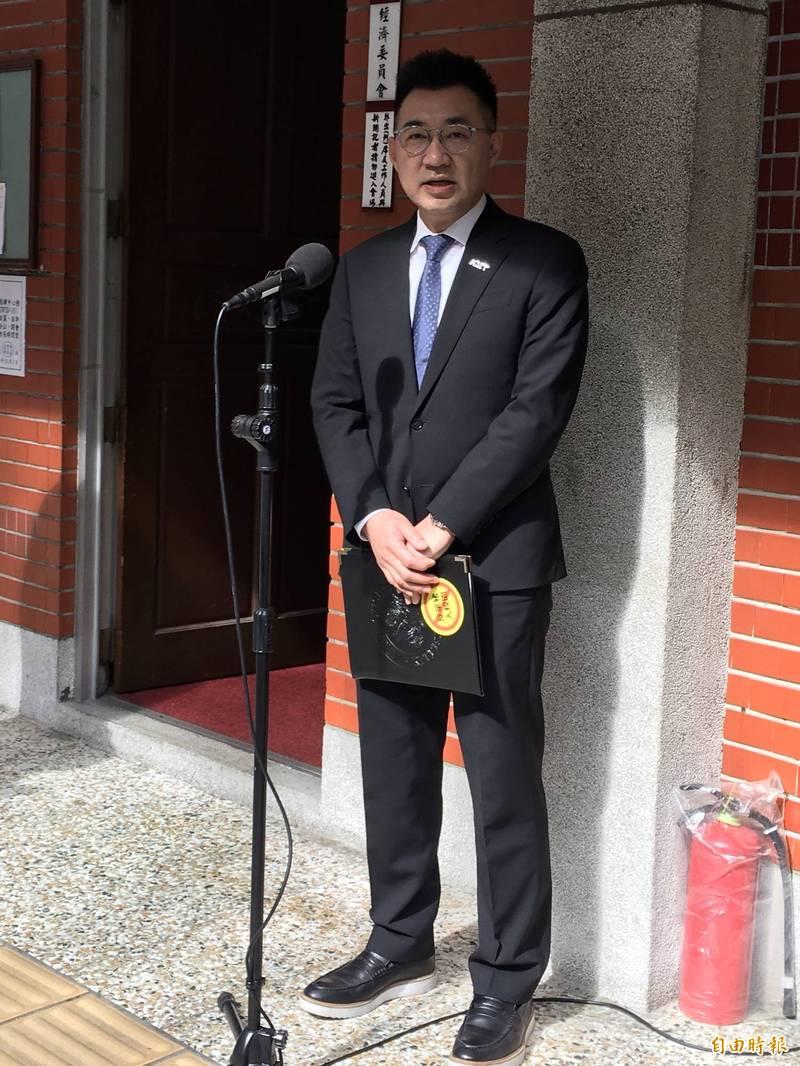 國民黨主席江啟臣認為,執政黨現在滿緊張,看到國民黨聲勢上來,會用很多分化手段。(記者林良昇攝)