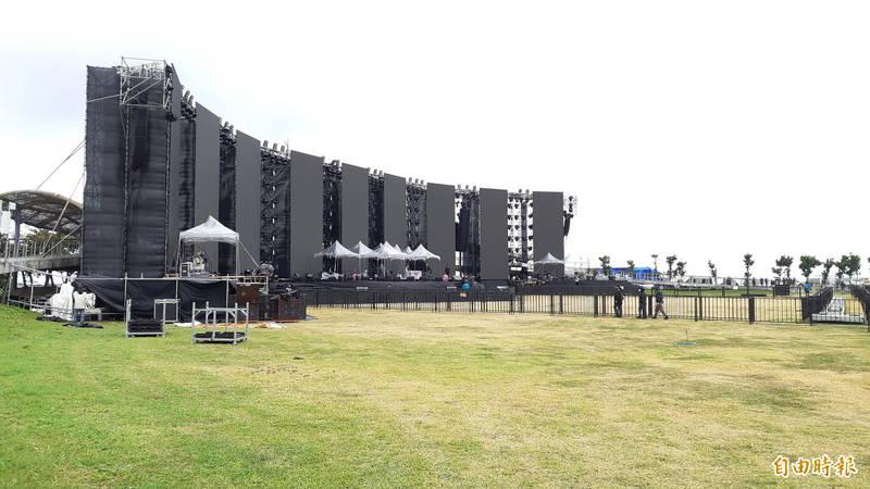 張惠妹台東跨年演唱會舞台。(記者黃明堂攝)