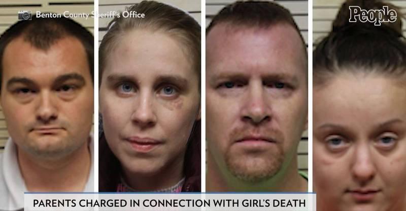 4歲女童潔西卡慘死,父親詹姆斯(左起)、母親瑪麗狠心旁觀孩子被鄰居伊桑和歐門虐殺。(圖取自People影片)