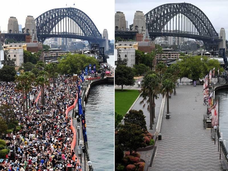 澳洲雪梨跨年通常碼頭及沿海地區總是人山人海擠滿觀看煙火的群眾,但受到禁令影響,今晚卻空蕩蕩。左為去年跨年,右為今年。(歐新社)