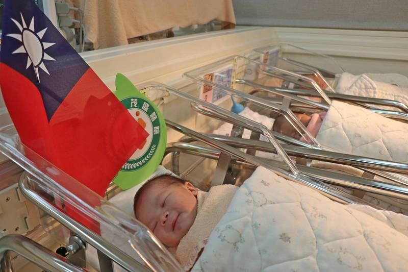 今天零點零1分出生的元旦女寶寶,院方在嬰兒車上插上國旗慶祝。(記者蔡淑媛翻攝)