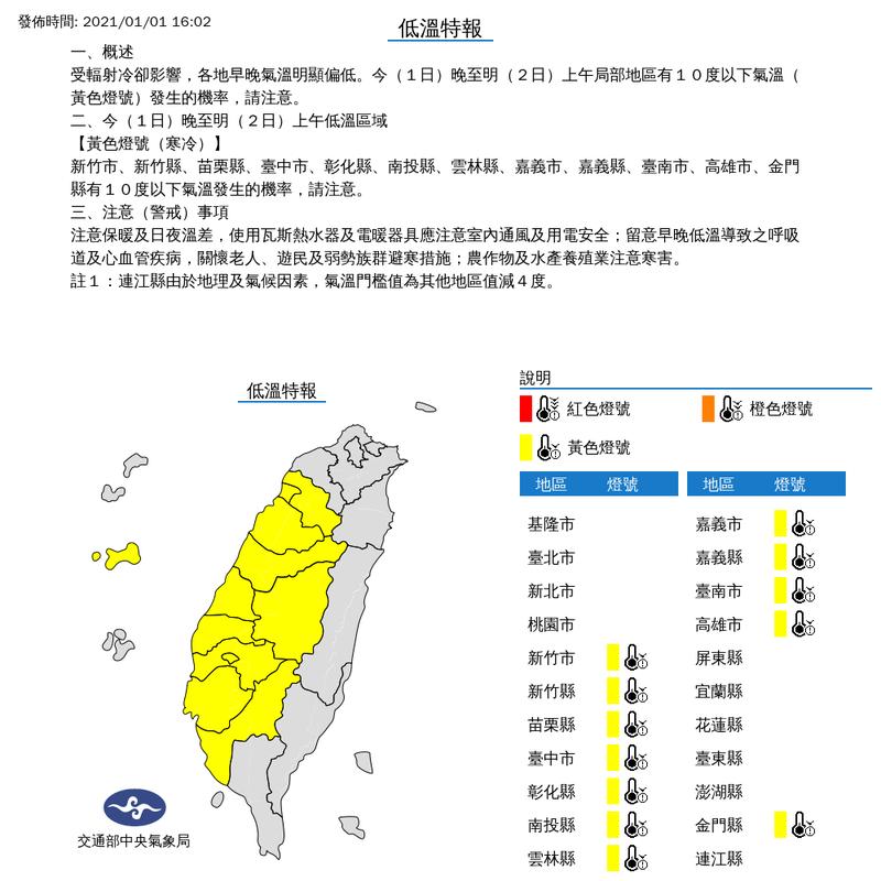 中央氣象局今(1日)下午4點2分針對12縣市發布低溫特報,提醒民眾新年出遊要做好禦寒措施。(圖擷取自中央氣象局)