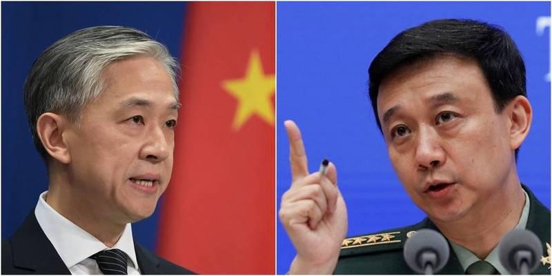 中國外交部發言人汪文斌(左)、國防部發言人吳謙(右)對美派雙艦過台海表達不滿。(左圖法新社,右圖美聯社)