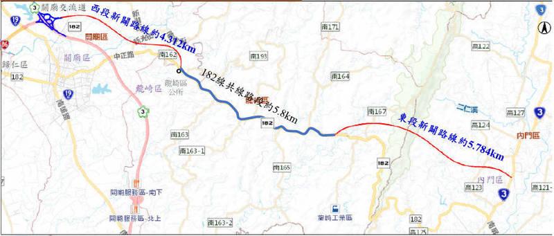 台86線向東延伸至台3線道路新闢案,行政院已於去年12月核定。(台南市工務局提供)