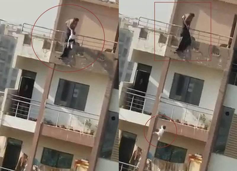 巴基斯坦35歲女子瑪麗亞姆疑吸毒後神智不清,竟把2歲的女兒從公寓6樓往下扔,接著自己也縱身一跳。(圖擷取自影片)
