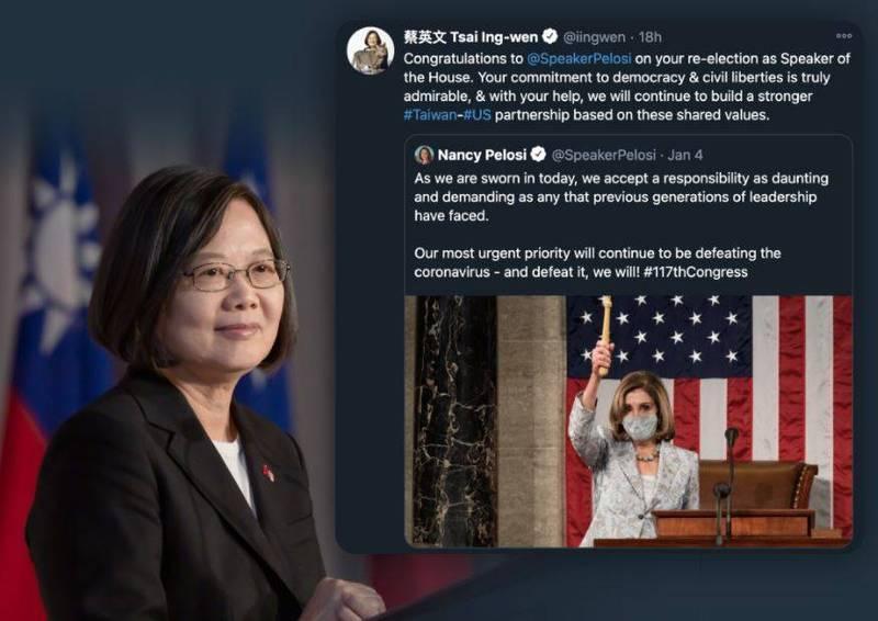 總統蔡英文(左)今天透過推特與臉書,恭賀美國眾議院議長裴洛西(右)成功連任。(圖擷取蔡英文臉書)