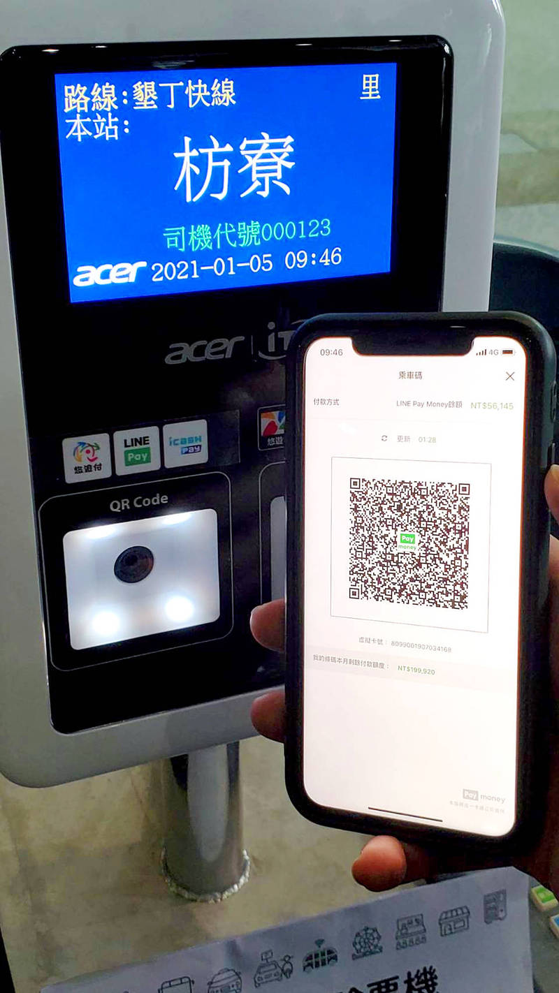 A QR code for Line Pay is pictured in an undated photograph. Photo courtesy of the iPass Card