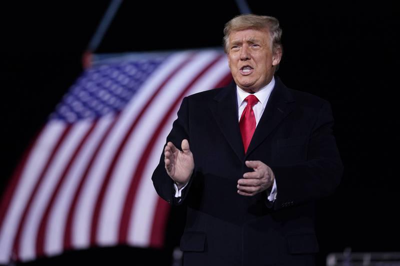 美國總統川普(見圖)任期預計至1月20日。(美聯社檔案照)