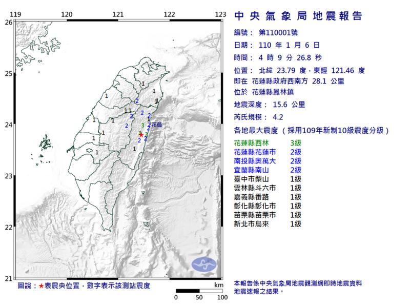 今晨4:09發生今年第 001 號顯著有感地震。(擷自氣象局網站)