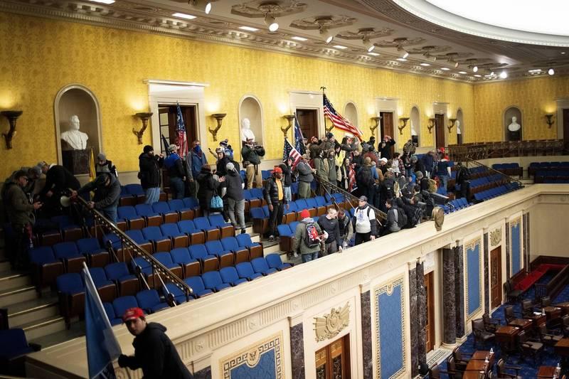 示威者攻佔眾議院議場。(法新社)