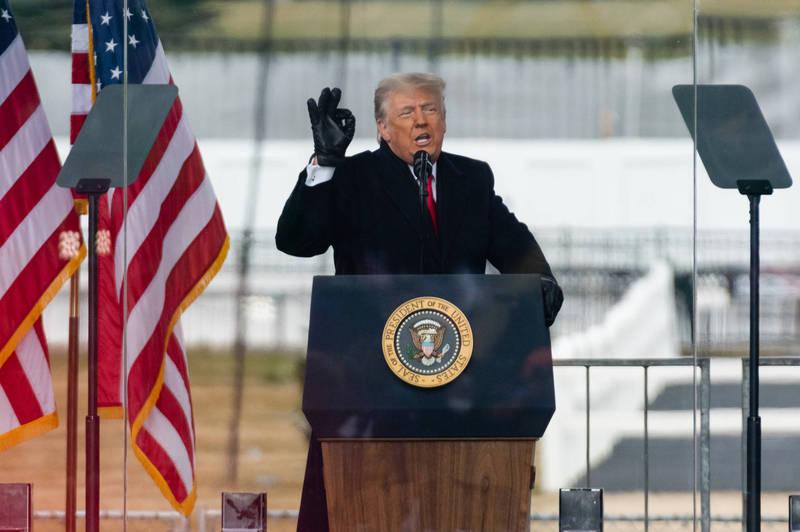 美總統川普呼籲支持者保持和平理性。(彭博)