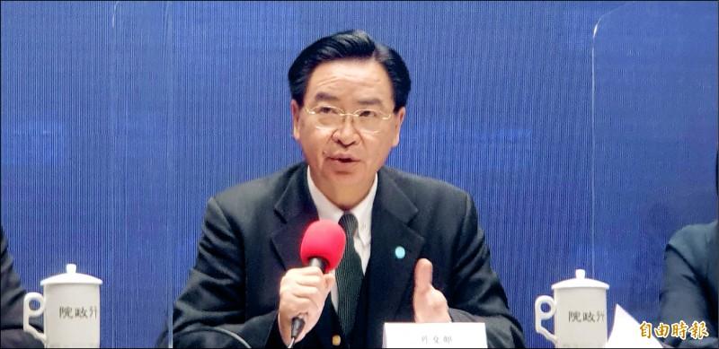 外交部長吳釗燮昨表示,台美政軍對話已順利完成。(記者李欣芳攝)