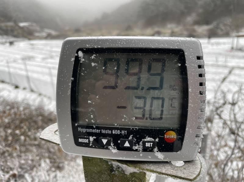 寒流發威,台中市台七甲線出現零下3度低溫。(圖由民眾提供)