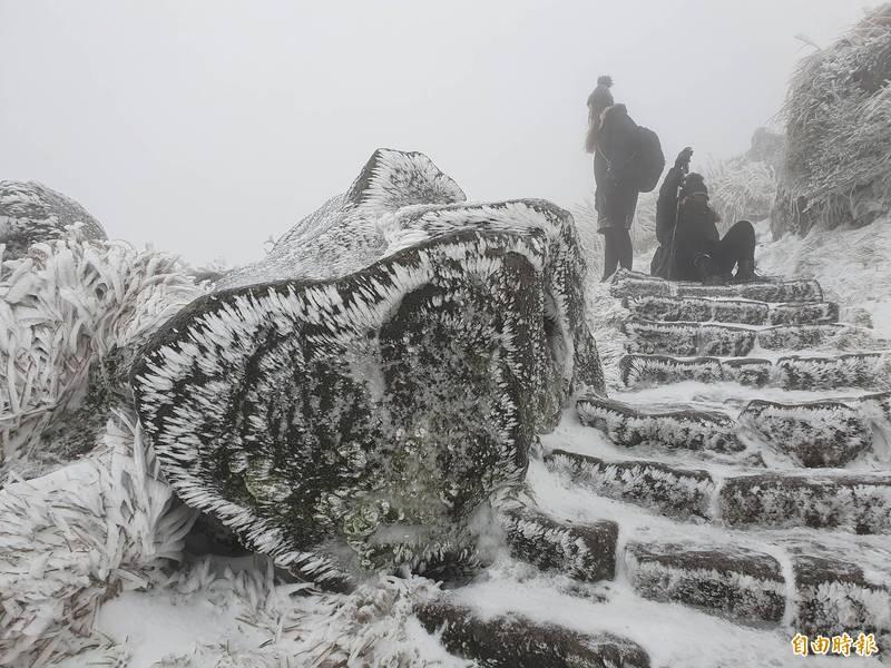 強烈寒流來襲,位於陽明山國家公園的七星山8日降雪,上山賞雪的民眾,下山時行經濕滑的階梯,坐在緩慢滑移。(記者張嘉明攝)