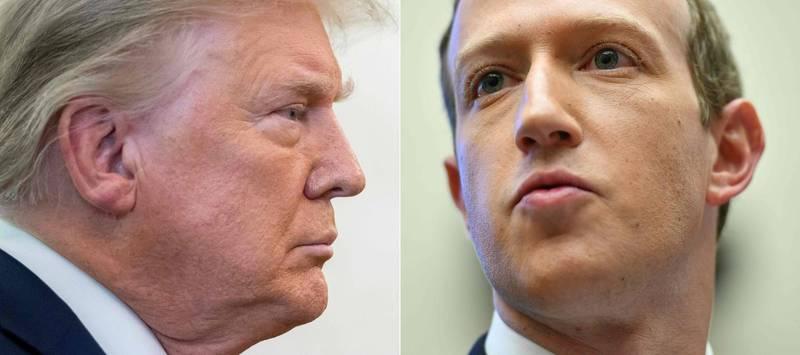 札克柏格(右)週四(7日)表示,臉書和Instagram將持續封鎖美國總統川普(左)的帳號,至少會到他離開白宮。(法新社)