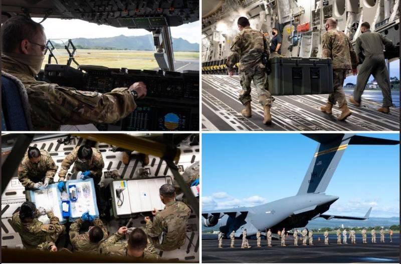 美國空軍國民兵7日透過新聞稿指出,將154空軍聯隊1架C-17運輸機改裝為移動疫苗接種站,為鄰近島上的國民兵接種疫苗。(擷取自美國夏威夷空軍國民兵推特)