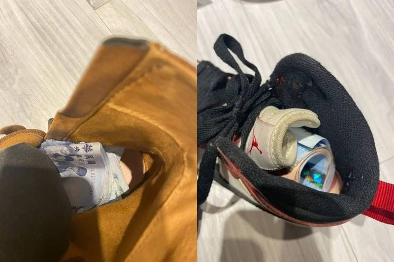 一名人夫網友日前在家中照顧兒子,意外發現妻子在鞋子裡藏錢。(翻攝Dcard)