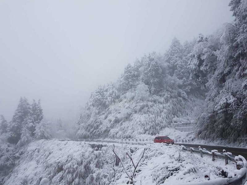 太平山前幾天下雪後成為銀白世界。(記者江志雄翻攝)
