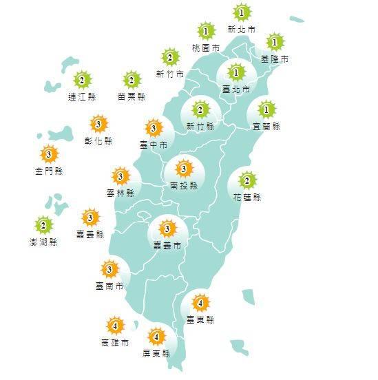 紫外線方面,明天基隆市、台北市、新北市、桃園市、新竹市、新竹縣、苗栗縣、宜蘭縣、花蓮縣、連江縣以及澎湖縣為輕量級,其他縣市均為中量級。(擷取自中央氣象局)