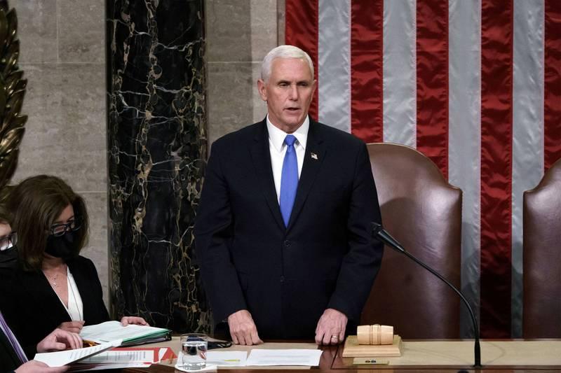 消息人士表示,美國副總統彭斯並不排除援引憲法第25條修正案的可能性。(路透)