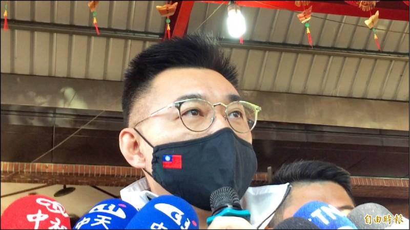 江啟臣說,近來傳出來的包括美國官員來台訪問或雙邊關係限制的解除,他希望都能延伸到拜登政府持續、實質、有意義發展。(記者蘇孟娟攝)