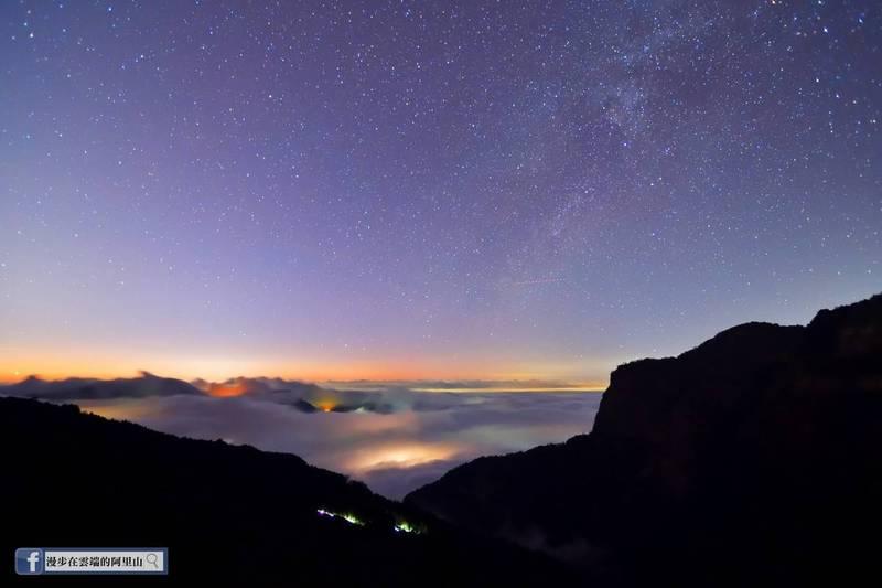 0度C的阿里山銀河星空雲海美景。(黃源明提供)