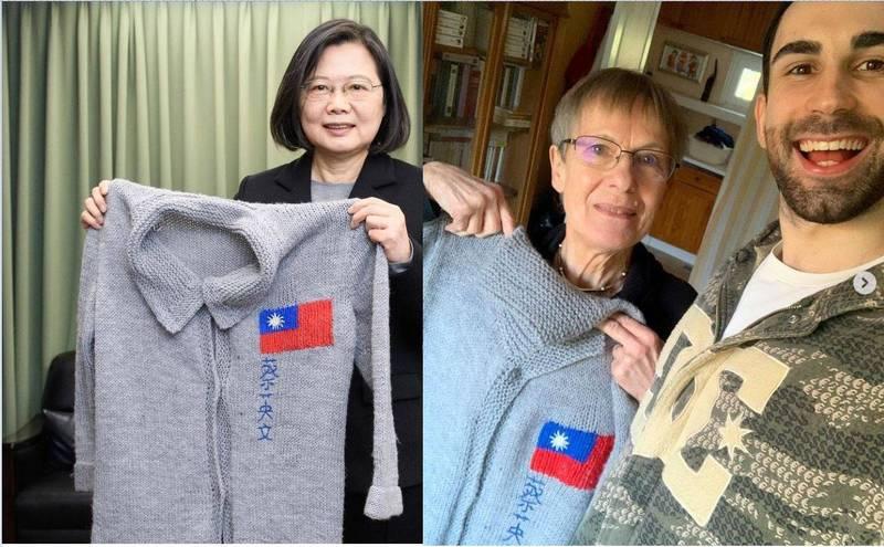 小英日前發文分享收到「酷」的阿嬤手織毛衣的回禮。圖右為「酷」的阿嬤拿著要送給小英的毛衣開心與「酷」照。(圖擷取自「酷的夢- Ku's dream」IG,合成圖)