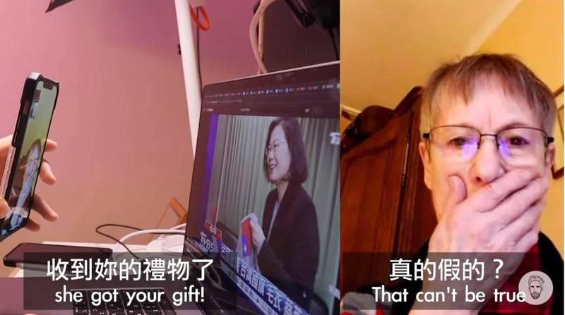 「酷」的阿嬤得知小英已經收到她贈送的毛衣後,不敢置信地說「真的假的?她人好好喔」,直呼自己很感動,還直說她一直想著小英。(圖擷取自「Ku's dream酷的夢-」YouTube)