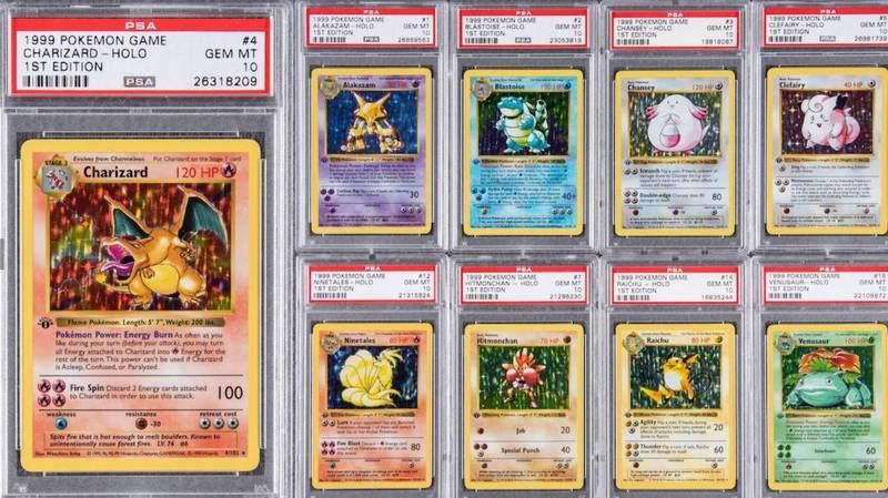 1999年的第一版全套寶可夢卡牌組,拍賣行預估最後賣價可上看於2114萬台幣的天價。(圖取自「Goldin Auctions」官網)