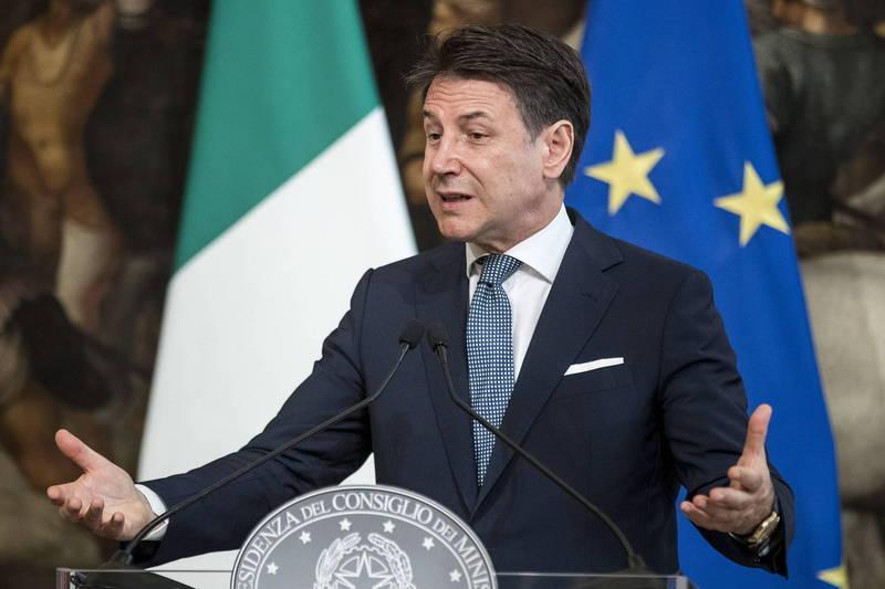 網傳訊息指稱,義大利總理孔蒂(見圖)被美國拘捕。(歐新社)