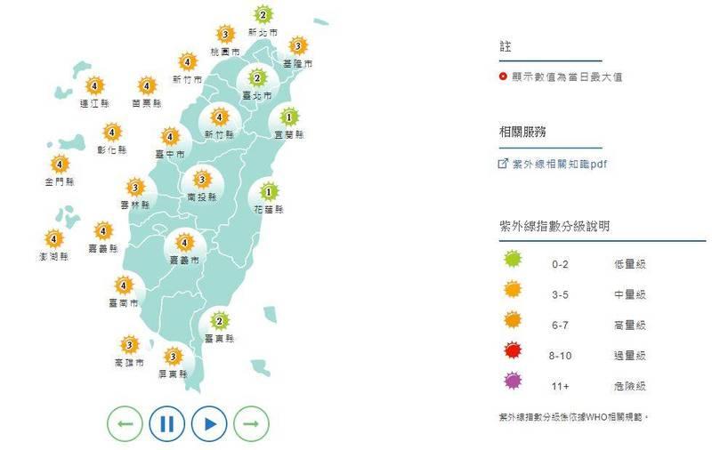 明日大台北地區、宜蘭、花蓮及台東為「低量級」,其他地區則為「中量級」。(圖擷取自中央氣象局)